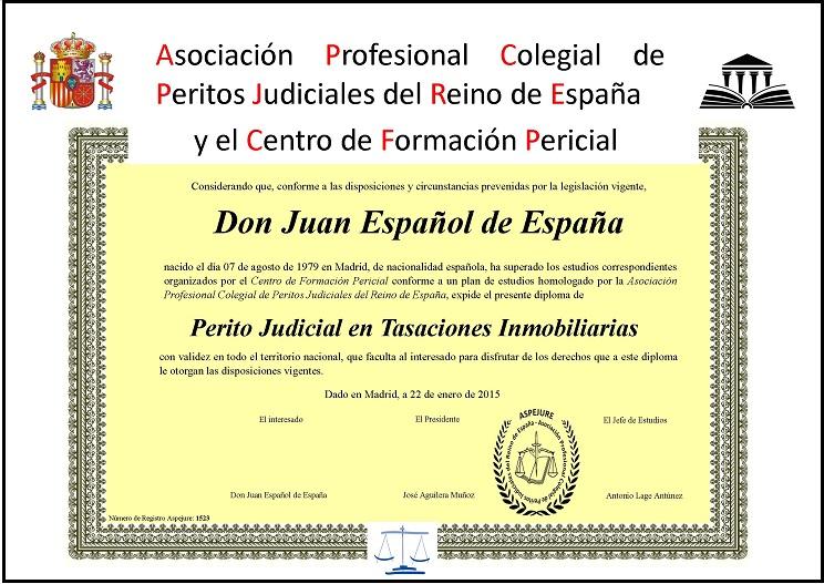 Diploma for Registro de bienes muebles de madrid